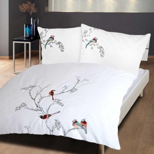 Bettwäsche Weiss mit Stickerei Birds
