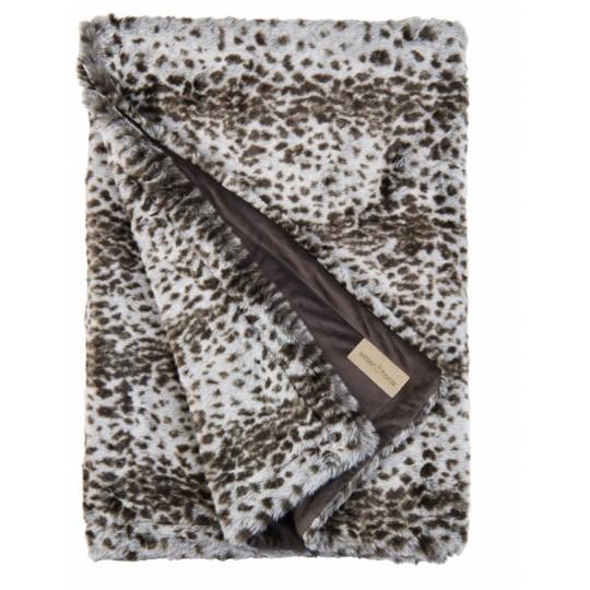 Winter Home Decke Fellimitat Serval 140x200 cm Grau mit braunen Punkten