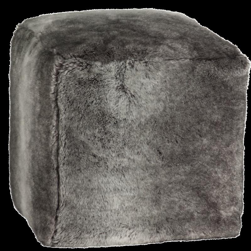 Winter Home Fellimitat Sitz-Hocker Timberwolf ca. 40x40x47 cm