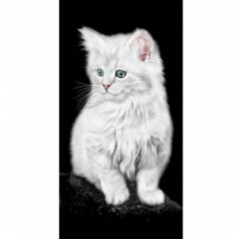 Strandtuch weisse Katze 76x152 cm