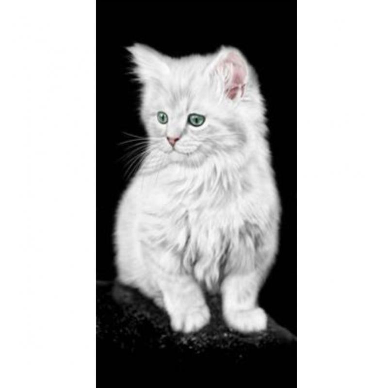 Bunte Strandtuch weisse Katze 76x152 cm