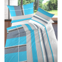 Bettwäsche Satin Randers Blau mit Streifen Muster