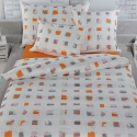 Tamara R Selection Satin Bettwäsche Garnitur Leni orange mit quadrat