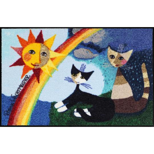 Fussmatte Arcobaleno 50x75 cm, blau, katzen, regenbogen, sonne