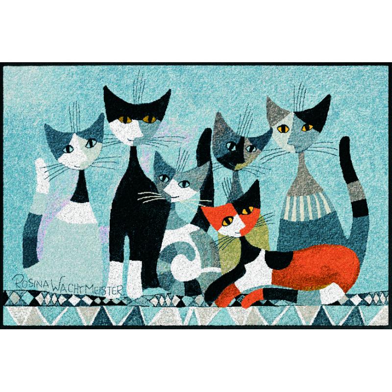 Fussmatte Siamo in sei 50x75 cm, grau mit Katzen