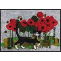 Fussmatte Poppywalk 50x75 cm, grau mit Blumen und Katzen