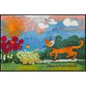 Fussmatte Daisies 50x75 cm, bunt mit Blumen und Katzen
