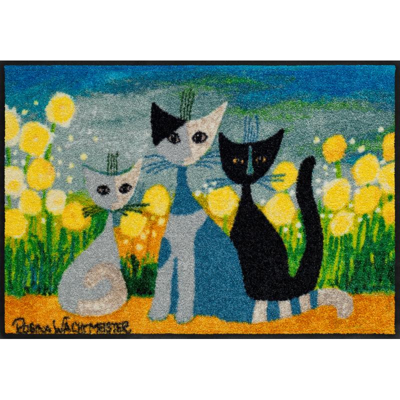 Fussmatte Springtime 50x75 cm, bunt mit Blumen und Katzen