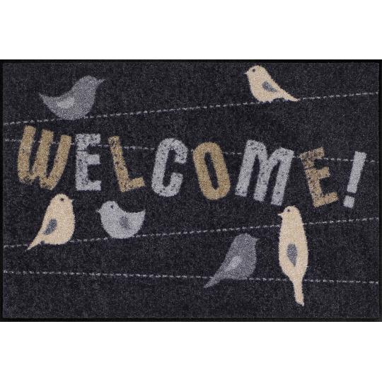 Fussmatte Welcome Birds 50x75 cm Schwarz