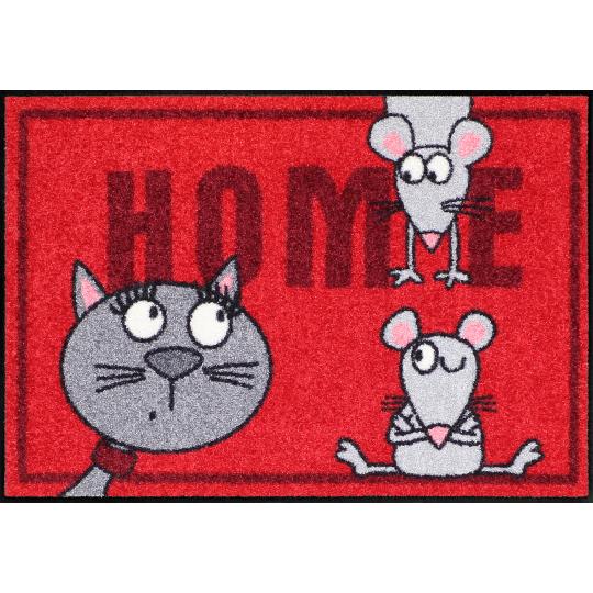 Fussmatte Katze und Maus 50x75 cm Rot